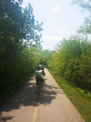 The Glacial Drumlin State Trail is paved for 13 of its 52 miles between Waukesha and Cottage Grove near Madison.