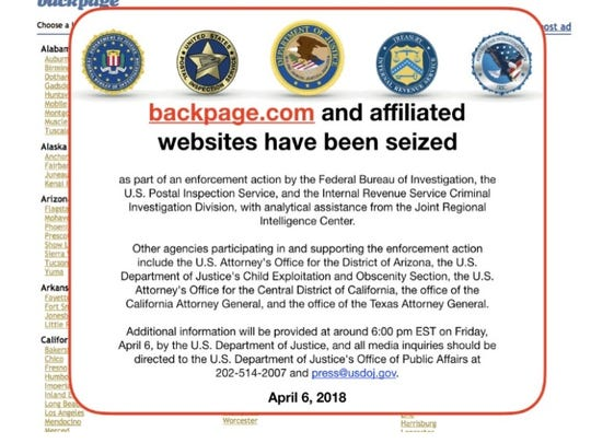 A file photo of when federal officials seized the website Backpage.com. The site was linked to prostitution and human trafficking. It's closure is being lauded by local prosecutors and sexual assault advocates.