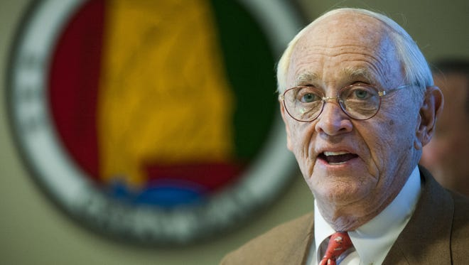Sen. Gerald Dial, R-Lineville, speaks during a news conference in Montgomery on Feb. 11, 2016. Dial helped create the legislative committee responsible for investigating how the state Board of Education handled an anonymous complaint against Jefferson County Schools Superintendent Craig Pouncey last year.