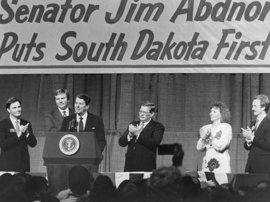During a campaign stop in Sioux Falls on Sept. 30, 1986, then South Dakota Gov. Bill Janklow, fourth from left, was onstage with, from left, U.S. House candidate Dale Bell, candidate for governor George Mickelson and President Ronald ReaganDuring a campaign stop in Sioux Falls on Sept. 30, 1986, then South Dakota Gov. Bill Janklow, fourth from left, was onstage with, from left, U.S. House candidate Dale Bell, candidate for governor George Mickelson and President Ronald Reagan.