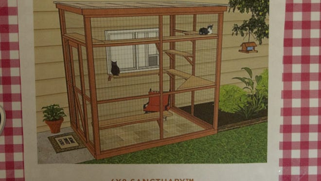 This illustration shows a possible configuration for Have A Heart Pet Shelter's planned 'catio,' an enclosed outdoor area for the shelter's cats.