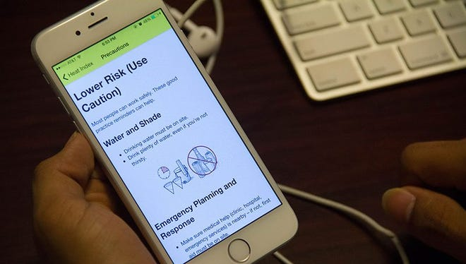 A phone app from the Occupational Safety and Health Administration warns workers and others who will be outsie as sumer heats up of risks of heat-related ilness, and provides preventive steps.