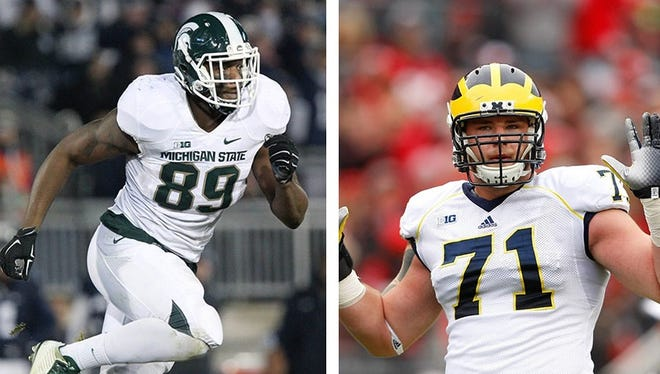 Michigan State defensive end Shilique Calhoun, left, and Michigan offensive lineman Ben Braden, right.