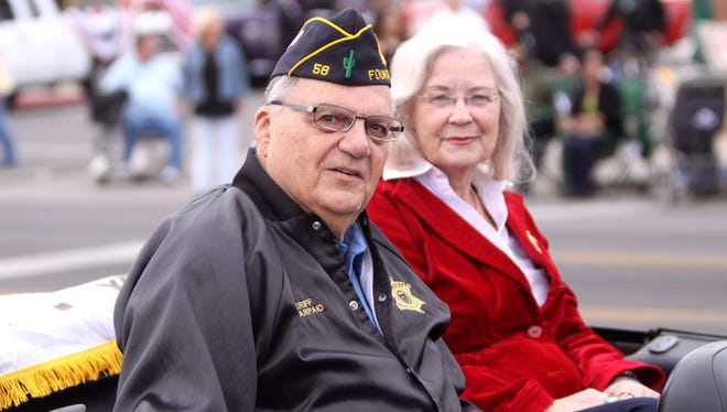 Maricopa County Sheriff Joe Arpaio and his wife Ava at the 2011 Veterans Day parade in Phoenix. Arpaio says he would like to meet with Pope Francis during his one-day stop in Cuidad Juárez.