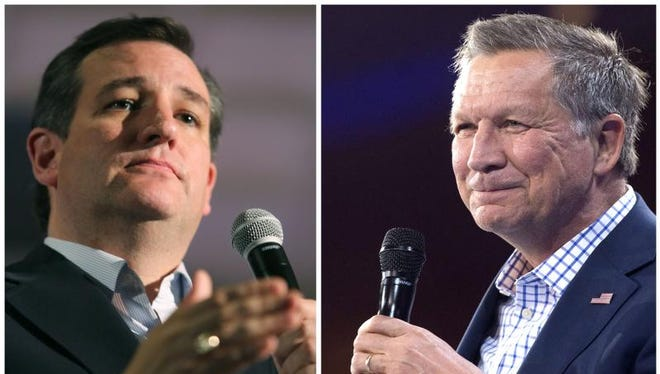 Republilcan presidential candidates Ted Cruz, left, and John Kasich.