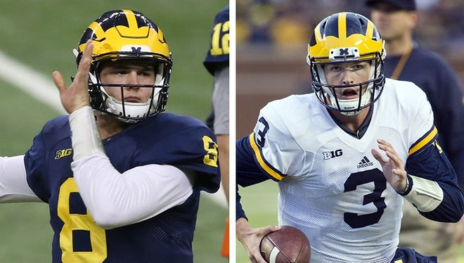 OK, let's get the disappointment out of the way right at the start. We're not yet able to make a real pick between John O'Korn, left, and Wilton Speight at quarterback. So much is riding on fall camp.