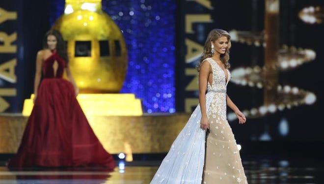Miss South Carolina Rachel Wyatt, performs during the Miss America 2017 pageant, Sunday, Sept. 11, 2016, in Atlantic City, N.J. (AP Photo/Mel Evans)