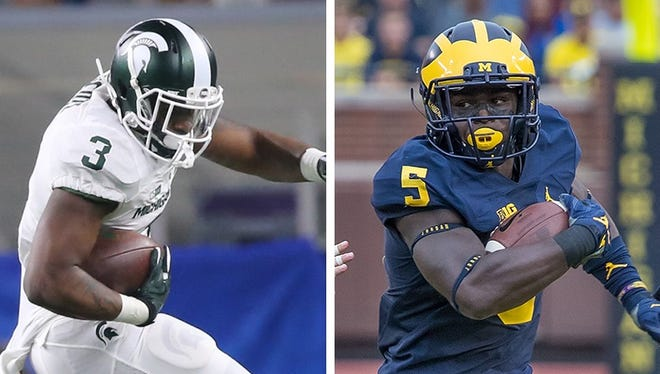 Michigan State running back LJ Scott, left, and Michigan linebacker Jabrill Peppers.