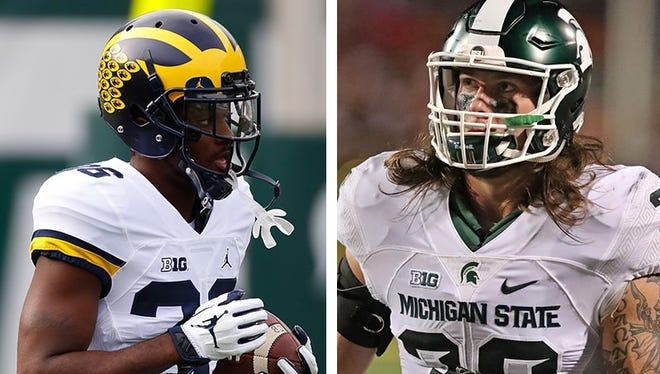 Michigan cornerback Jourdan Lewis, left, and Michigan State linebacker Riley Bullough