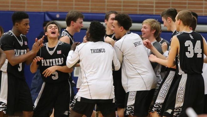 No. 6 Bridgewater-Raritan celebrates its win over No. 3 Scotch Plains-Fanwood in the North 2 Group IV quarterfinals on Wednesday in Scotch Plains.