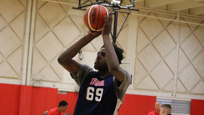 Western Kentucky freshman Mitchell Robinson during USA Basketball U19 training camp on Monday, June 19, 2017.