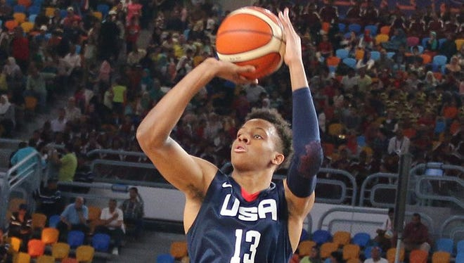 New Albany's Romeo Langford attempts a shot in Team USA's win against Iran at the FIBA World Cup in Cairo on July 2, 2017.
