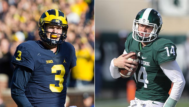 Michigan QB Wilton Speight, left, and Michigan State QB Brian Lewerke.