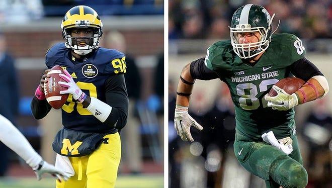 Michigan quarterback Devin Gardner, left, and Michigan State tight end Josiah Price