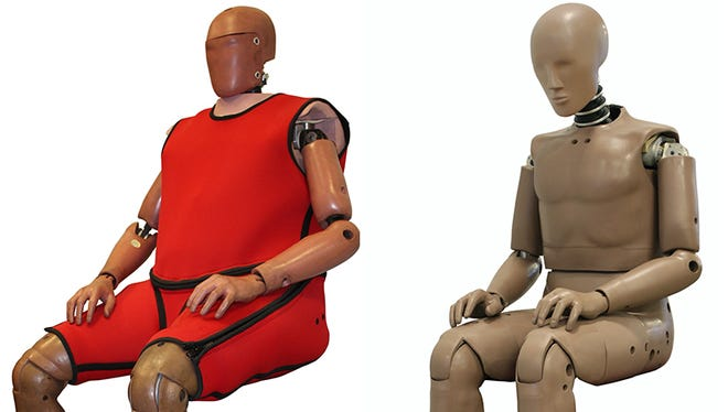 An obese crash test dummy, left, weighs 273 pounds compared to the previous 169-pound dummy.