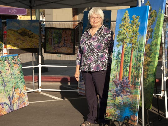 Artist Joy Collier at Taste the Arts in downtown Visalia.
