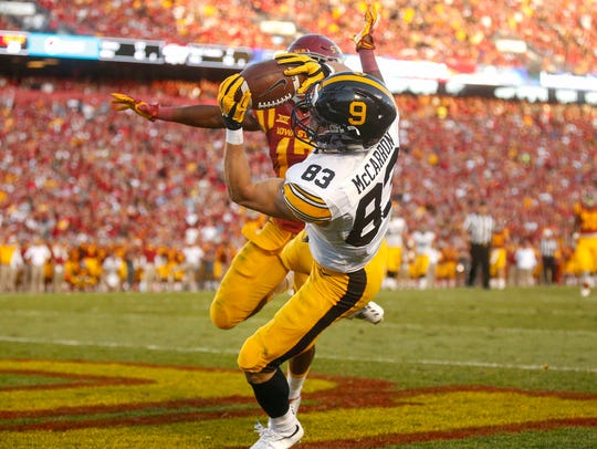 Iowa junior wide receiver Riley McCarron, a former