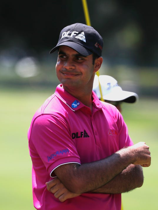 India's Shubhankar Sharma smiles after teeing off on the first hole in the third round of the Mexico Championship at the Chapultepec Golf Club in in Mexico City, Saturday, March 3, 2018. (AP Photo/Eduardo Verdugo)