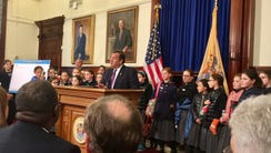 Gov. Chris Christie abruptly called in a group of students
