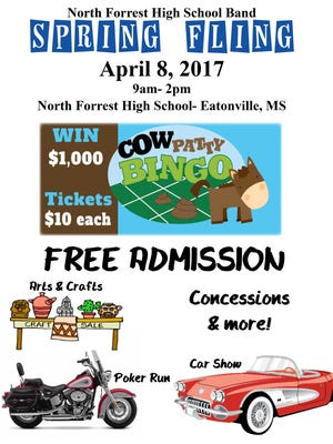 The North Forrest High School band will hold Spring Fling from 9 a.m.-2 p.m. April 8 at North Forrest High School in Eatonville.