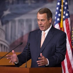 House Speaker John Boehner holds his weekly news conference on Capitol Hill on July 29, 2015.
