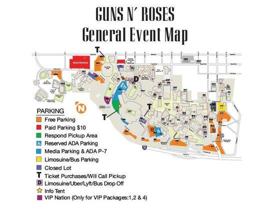Guns N' Roses Sun Bowl Parking Map