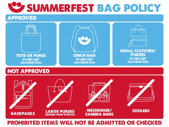 Summerfest is not allowing backpacks and large bags to be allowed into grounds.