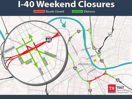 Nashville Tn Traffic Map.Nashville Traffic I 40 Weekend Closure Due To Bridge Work