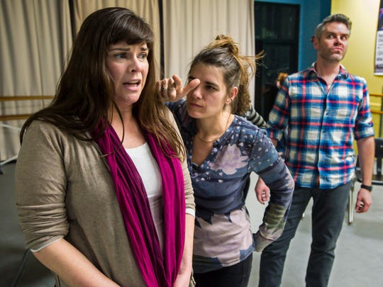 """Geeda Searfoorce, from left, Alex Hudson and Jory Raphael rehearse Stealing From Work's production of """"History Retweets Itself"""" in Burlington on Thursday, January 12, 2017."""