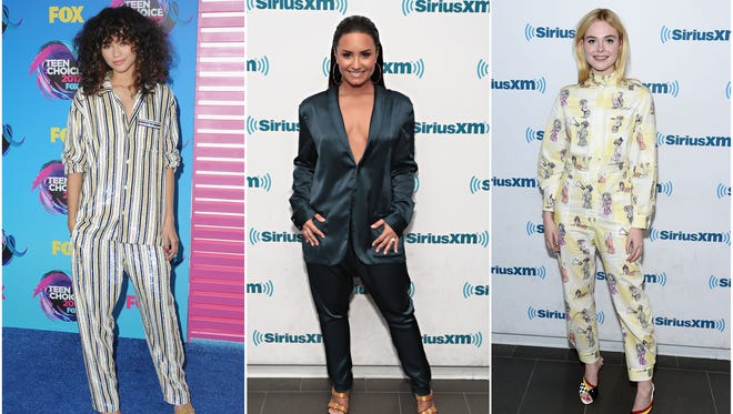 Zendaya, Demi Lovato and Elle Fanning put their own spin on the pajamas-as-outerwear trend.
