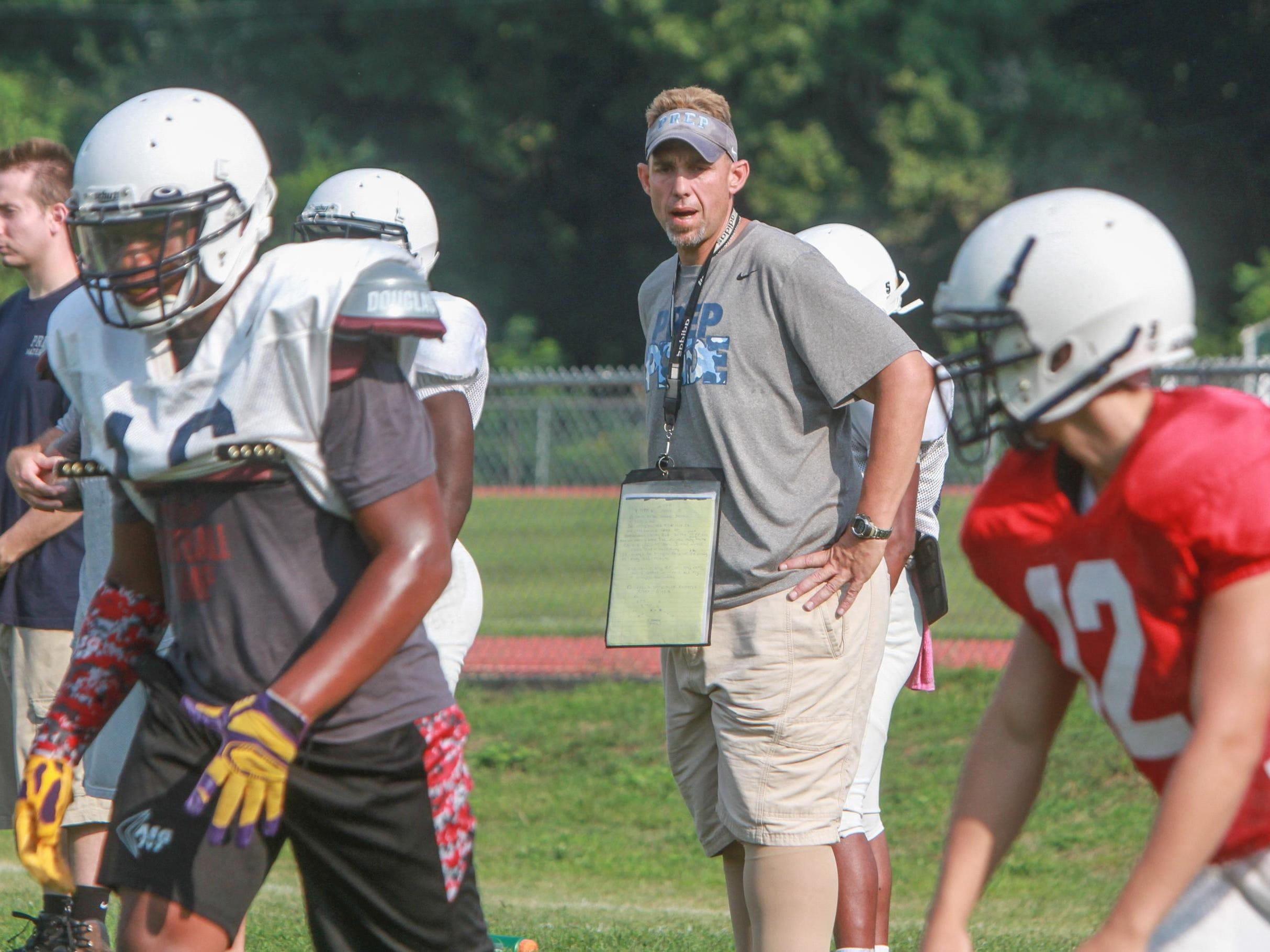 Mater Dei practices Aug. 25 under first-year head coach Shannon Hoadley.