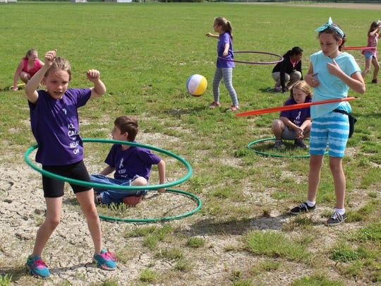 Students participated in hula hoop at one of five fitness