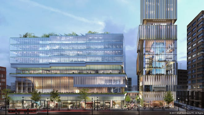 Rendering shows businessman Dan Gilbert's planned Hudson's site project, which broke ground in December 2017.