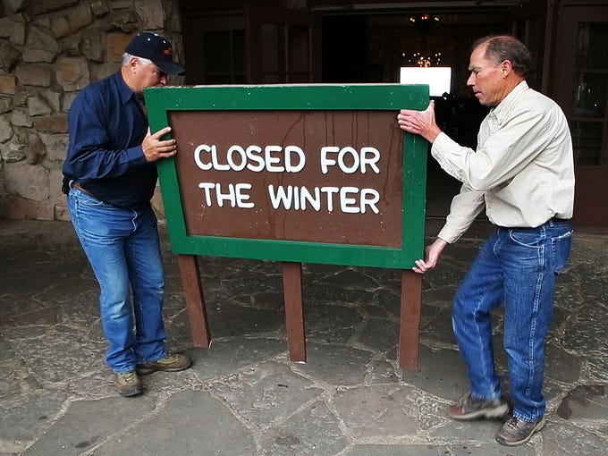 """Each Oct. 15, workers put out the """"closed"""" sign in"""