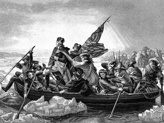 An engraved illustration of George Washington crossing