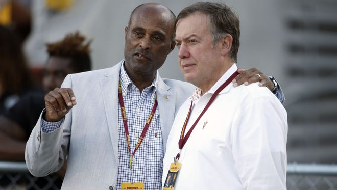 Vice President for University Athletics Ray Anderson (left) and ASU President Michael Crow took heat from boosters and alumni for firing football coach Todd Graham and hiring Herm Edwards, records show