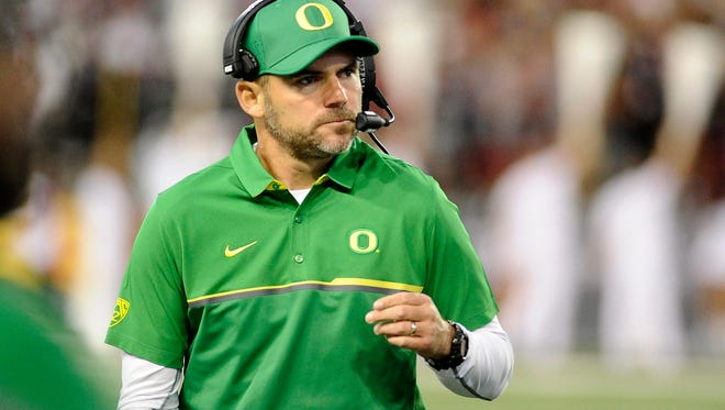 Oct 1, 2016; Pullman, WA, USA; Oregon Ducks head coach Mark Helfrich looks on against the Washington State Cougars during the first half at Martin Stadium. Mandatory Credit: James Snook-USA TODAY Sports