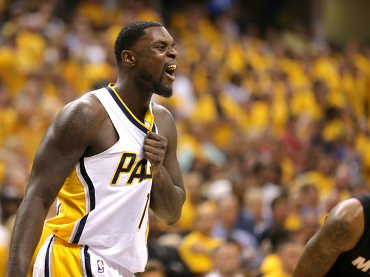 Indiana Pacers Lance Stephenson (1) grimaces after crashing hard to the court during the second half of action. The Indiana Pacers hosted the Miami Heat in Game 5 of the NBA Eastern Conference Finals Wednesday, May 28, 2014, at Bankers Life Fieldhouse in Indianapolis. The Pacers defeated the Heat 93-90.