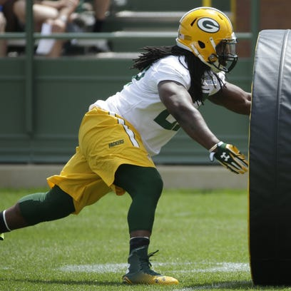 Eddie Lacy participates in a drill during a practice earlier this month.