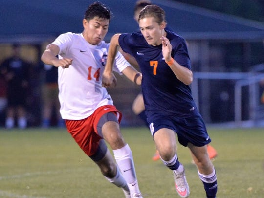 Blackman's Matthew Jobe (7) pushes the ball upfield