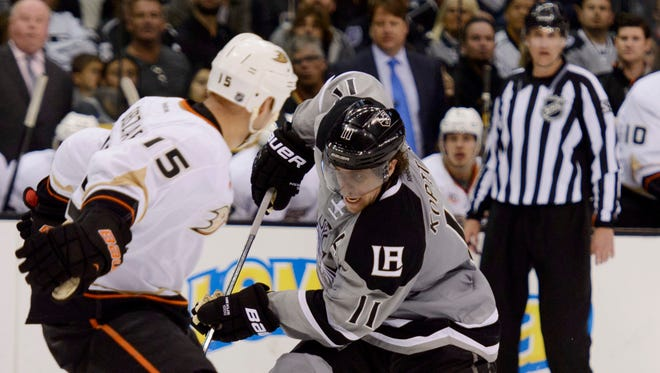 The Los Angeles Kings will need center Anze Kopitar, right, to get more points than Anaheim's Ryan Getzlaf, left.