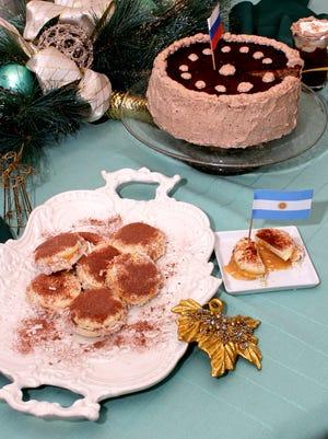 Alfajores Sandwich Cookies, Russian Walnut Mocha Torte, Viennese Coffee are shown.