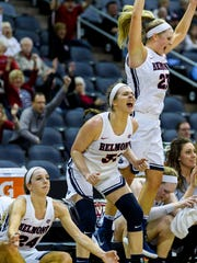 Belmont's Jenny Roy (24), Maura Muenstrerman (31) and