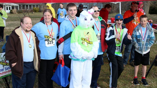 The Easter bunny poses with participants at a previous Bunny Run. The 2016 edition of the Bunny Run 5K Run/Walk is Saturday, March 26, with the race starting at 9 a.m.
