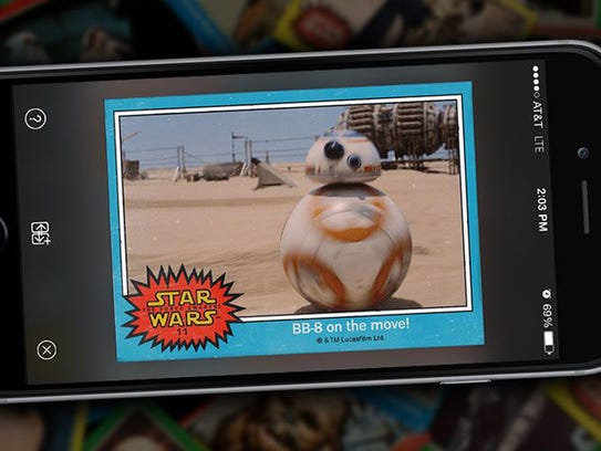 A card for the new ball droid BB-8 is one of eight