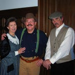 For the first History Comes Alive performance, two reporters will interview Teddy Roosevelt. This photo was taken at a similar performance given in Pottsville. From left are Upton Sinclair Jr., played by Stu Richards; Edith Roosevelt, played by Mary Pixler; Teddy Roosevelt, portrayed by Charles Sacavage; and Finley Peter Dunne, played by Tommy Symons.