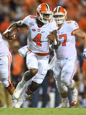 Clemson quarterback Deshaun Watson (4) runs against Auburn on September 3 at Auburn's Jordan–Hare Stadium.