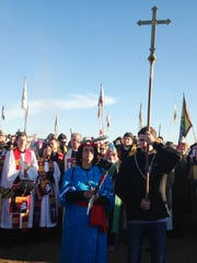 Members of the clergy join protesters against the Dakota Access crude-oil pipeline Nov. 3, 2016, in southern North Dakota near Cannon Ball.