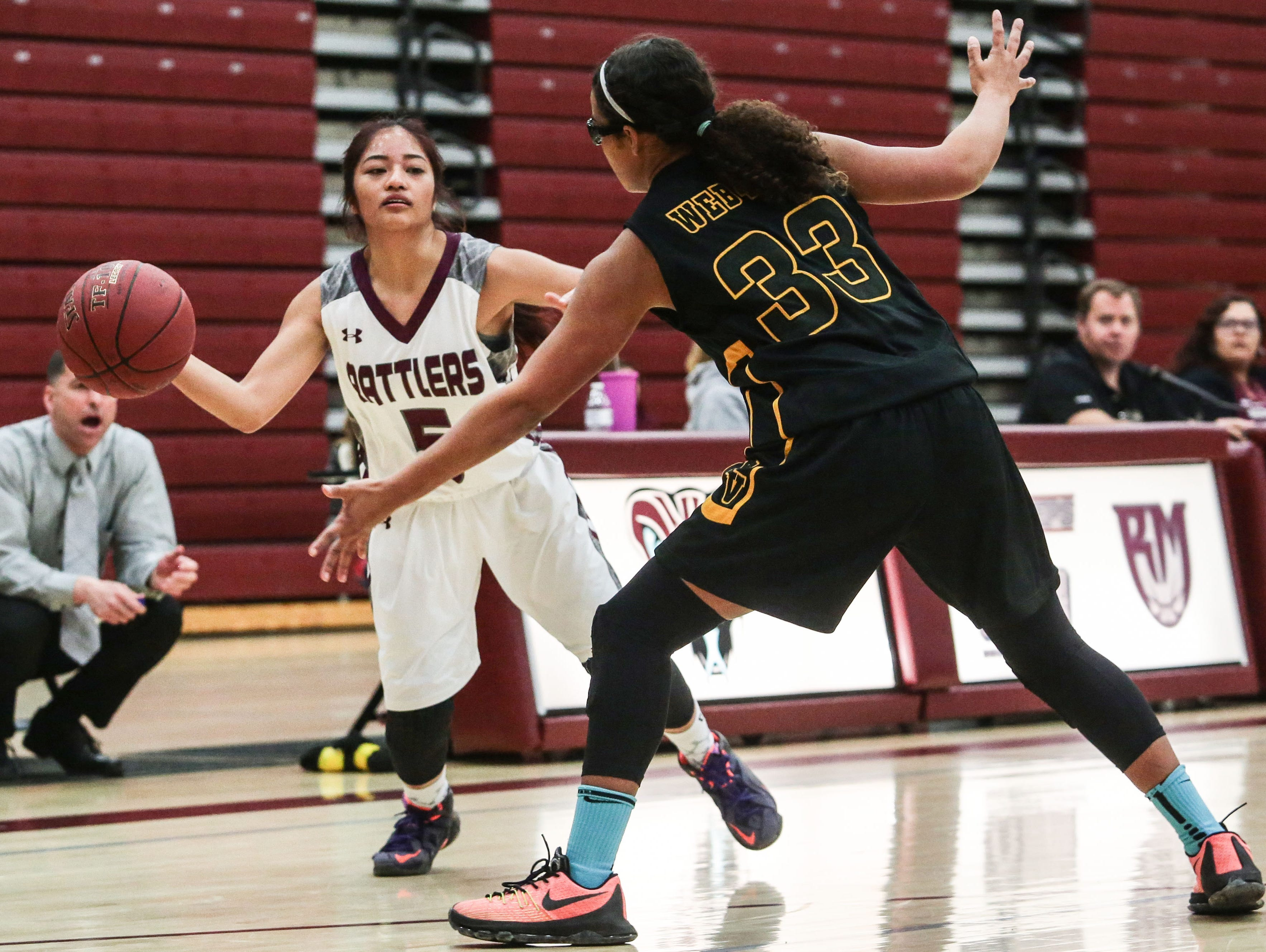 Rancho Mirage's Jodi-anne Ingal passes the ball against Yucca Valley on Thursday, February 2, 2017 in Rancho Mirage.