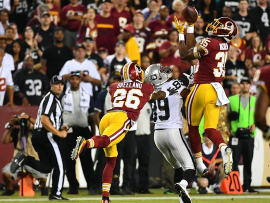 Redskins safety Montae Nicholson (35) intercepts a
